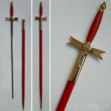 Ceremonial Knights Templar or Masonic Sword, red